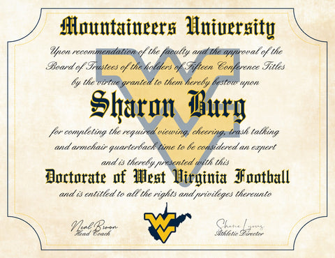 "West Virginia Mountaineers Ultimate Football Fan Personalized Diploma - 8.5"" x 11"" Parchment Paper"