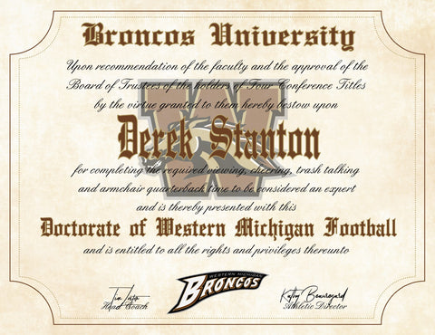 Western Michigan University Broncos Ultimate Football Fan Personalized Diploma