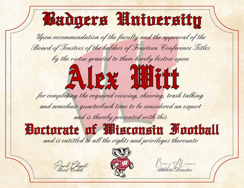 "Wisconsin Badgers Ultimate Football Fan Personalized Diploma - 8.5"" x 11"" Parchment Paper"