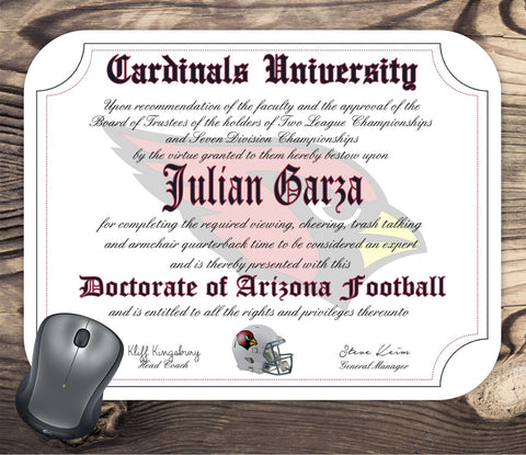 Arizona Cardinals Ultimate Football Fan Personalized Diploma - Mouse Pad