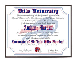 Personalized Buffalo Bills Ultimate Football Fan Diploma Wood Plaque