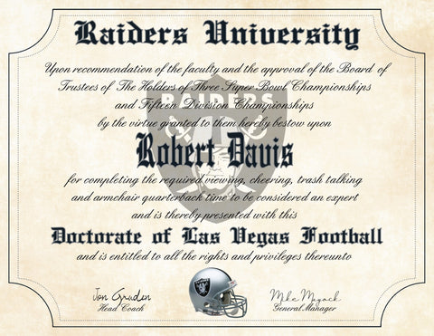 "Las Vegas Raiders Ultimate Football Fan Personalized Diploma - 8.5"" x 11"" Parchment Paper"