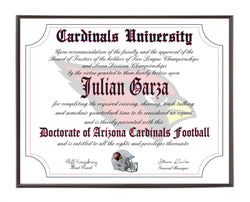 Personalized Wood Plaque of the Arizona Cardinals Ultimate Football Fan Diploma
