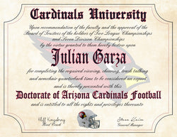 "Arizona Cardinals Ultimate Football Fan Personalized Diploma - Perfect Gift - 8.5"" x 11"" Parchment Paper"