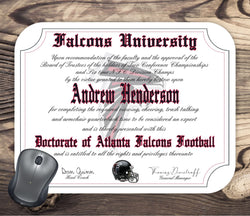 Atlanta Falcons Ultimate Football Fan Personalized Diploma - Mouse Pad - Perfect Gift