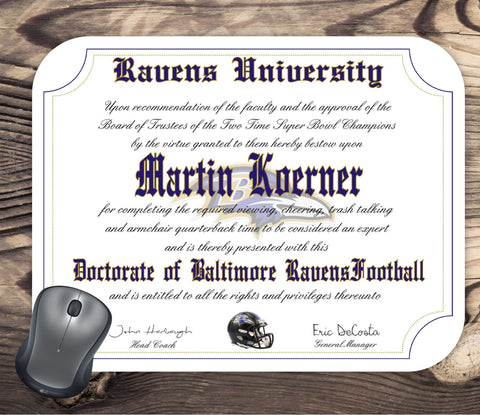 Baltimore Ravens Ultimate Football Fan Personalized Diploma - Mouse Pad - Perfect Gift