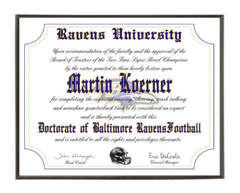 Personalized Wood Plaque of the Baltimore Ravens for the Ultimate Football Fan
