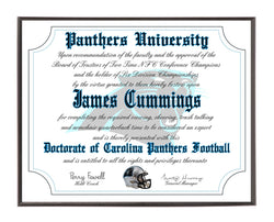 Personalized Wood Plaque of the Carolina Panthers for the Ultimate Football Fan