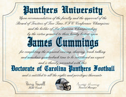 "Carolina Panthers Ultimate Football Fan Personalized Diploma - Perfect Gift - 8.5"" x 11"" Parchment Paper"
