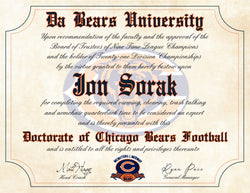 "Da Bears Ultimate Chicago Bears Football Fan Personalized Diploma - Perfect Gift - 8.5"" x 11"" Parchment Paper"