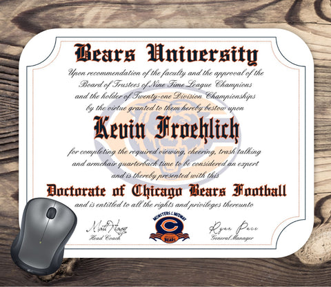 Chicago Bears Ultimate Football Fan Personalized Diploma Mouse Pad
