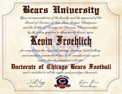 "Chicago Bears Ultimate Football Fan Personalized Diploma - Perfect Gift - 8.5"" x 11"" Parchment Paper"