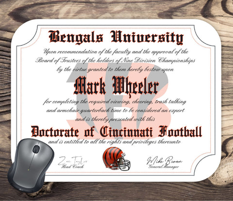 Cincinnati Bengals Ultimate Football Fan Personalized Diploma Mouse Pad