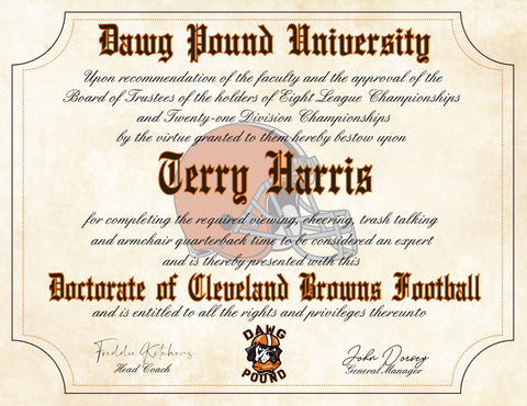 "Dawg Pound - Cleveland Browns Ultimate Football Fan Personalized Diploma - Perfect Gift - 8.5"" x 11"" Parchment Paper"