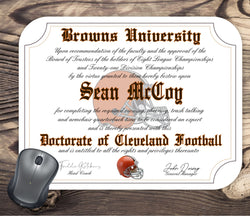 Cleveland Browns Ultimate Football Fan Personalized Diploma Mouse Pad