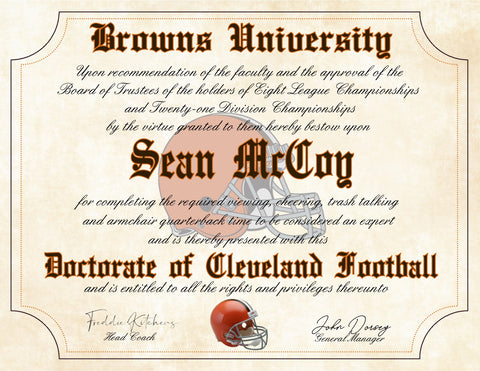 "Cleveland Browns Ultimate Football Fan Personalized Diploma - Perfect Gift - 8.5"" x 11"" Parchment Paper"