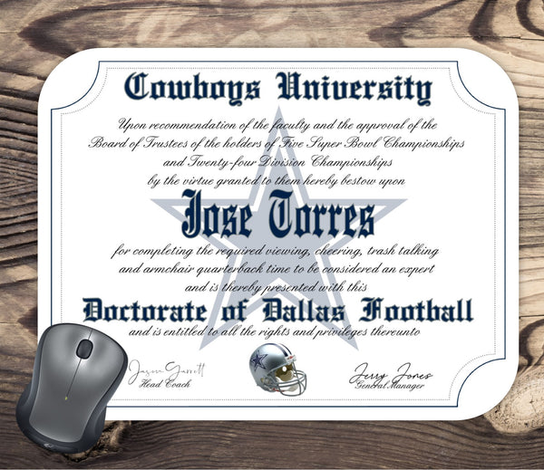 Dallas Cowboys Ultimate Football Fan Personalized Diploma - Mouse Pad - Perfect Gift