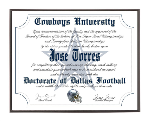 Personalized Wood Plaque of the Dallas Cowboys for the Ultimate Football Fan