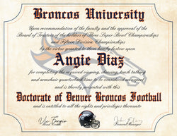 "Denver Broncos Ultimate Football Fan Personalized Diploma - Perfect Gift - 8.5"" x 11"" Parchment Paper"