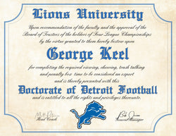 "Detroit Lions Ultimate Fan Personalized Diploma - Perfect Gift - 8.5"" x 11"" Parchment Paper"