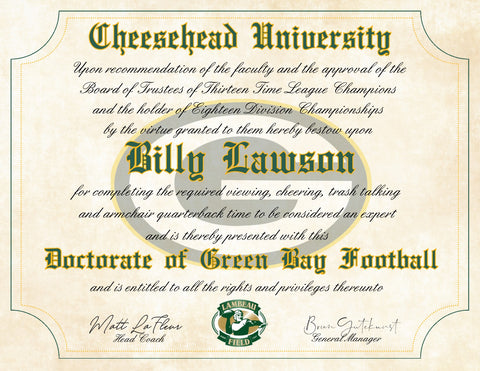 "Cheesehead University - Green Bay Packers Ultimate Fan Personalized Diploma - Perfect Gift - 8.5"" x 11"" Parchment Paper"