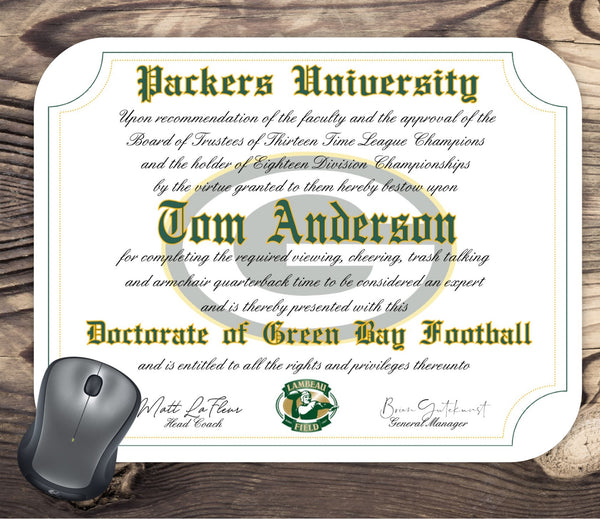 Green Bay Packers Ultimate Football Fan Personalized Diploma Mouse Pad