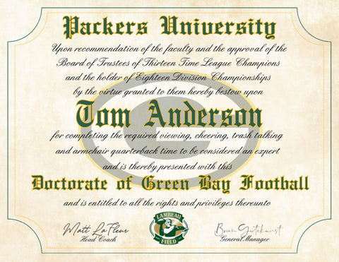 "Green Bay Packers Ultimate Football Fan Personalized Diploma - Perfect Gift - 8.5"" x 11"" Parchment Paper"