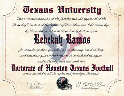 "Houston Texans Ultimate Football Fan Personalized Diploma - Perfect Gift - 8.5"" x 11"" Parchment Paper"