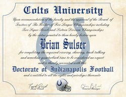 "Indianapolis Colts Ultimate Fan Personalized Diploma - Perfect Gift - 8.5"" x 11"" Parchment Paper"