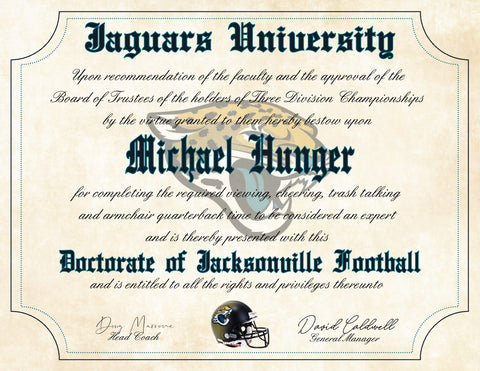 "Jacksonville Jaguars Ultimate Football Fan Personalized Diploma - Perfect Gift - 8.5"" x 11"" Parchment Paper"