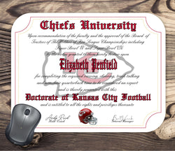 Kansas City Chiefs Ultimate Football Fan Personalized Diploma - Mouse Pad - Perfect Gift