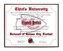 Personalized Wood Plaque of the Kansas City Chiefs for the Ultimate Football Fan