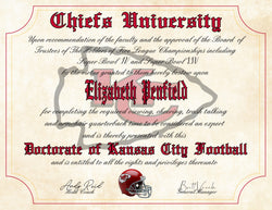 "Kansas City Chiefs Ultimate Football Fan Personalized Diploma - Perfect Gift - 8.5"" x 11"" Parchment Paper"