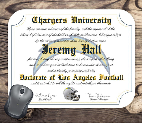 Los Angeles Chargers Ultimate Football Fan Personalized Diploma - Mouse Pad - Perfect Gift