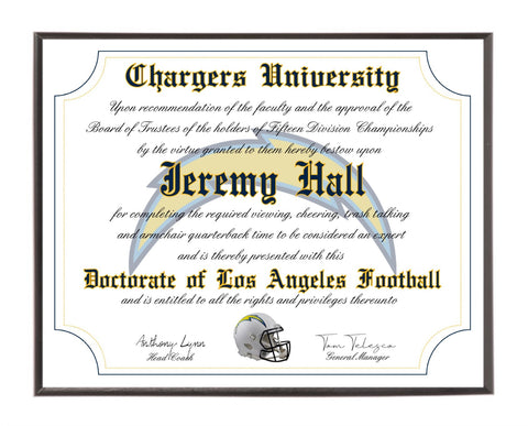 Personalized Wood Plaque of the Los Angeles Chargers for the Ultimate Football Fan