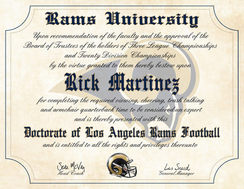 "Los Angeles Rams Ultimate Football Fan Personalized Diploma - 8.5"" x 11"" Parchment Paper"