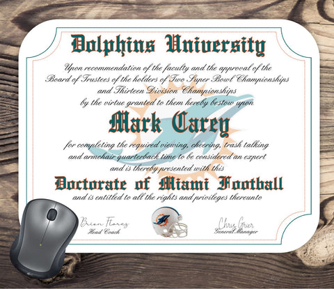 Miami Dolphins Ultimate Football Fan Personalized Diploma Mouse Pad