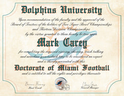"Miami Dolphins Ultimate Football Fan Personalized Diploma - 8.5"" x 11"" Parchment Paper"
