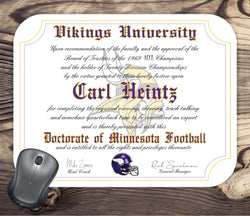 Minnesota Vikings Ultimate Football Fan Personalized Diploma - Mouse Pad