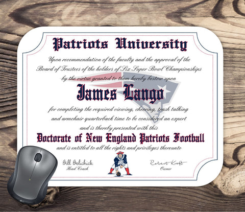 New England Patriots Ultimate Football Fan Personalized Diploma - Mouse Pad - Perfect Gift