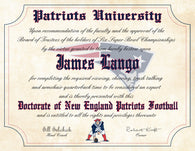 "New England Patriots Ultimate Football Fan Personalized Diploma - Perfect Gift - 8.5"" x 11"" Parchment Paper"