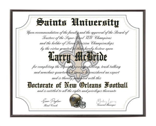 Personalized Wood Plaque of the New Orleans Saints for the Ultimate Football Fan