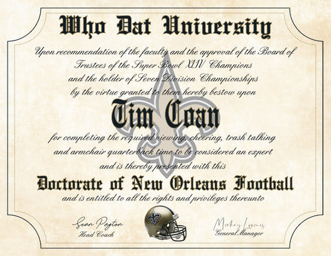 "Who Dat University - New Orleans Saints Ultimate Fan Personalized Diploma - Perfect Gift - 8.5"" x 11"" Parchment Paper"