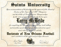 "New Orleans Saints Ultimate Football Fan Personalized Diploma 8.5"" x 11"" Parchment Paper"