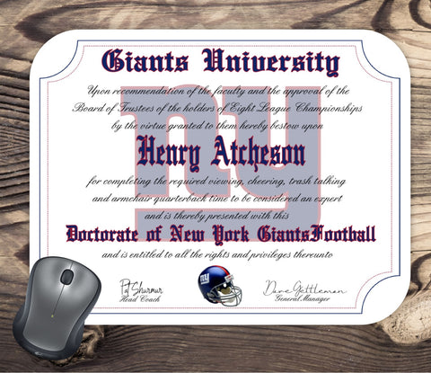 New York Giants Ultimate Football Fan Personalized Diploma - Mouse Pad