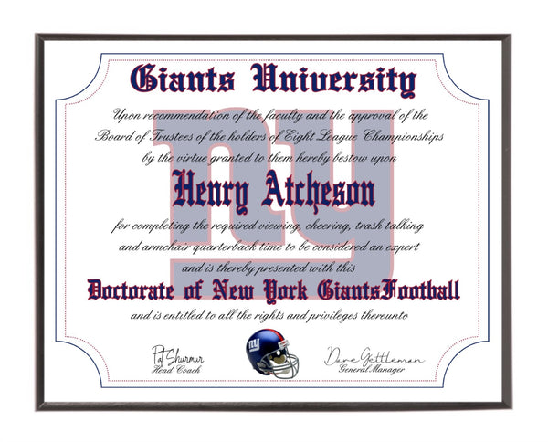 Personalized Wood Plaque of the New York Giants for the Ultimate Football Fan
