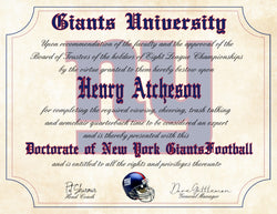 "New York Giants Ultimate Football Fan Personalized Diploma - 8.5"" x 11"" Parchment Paper"