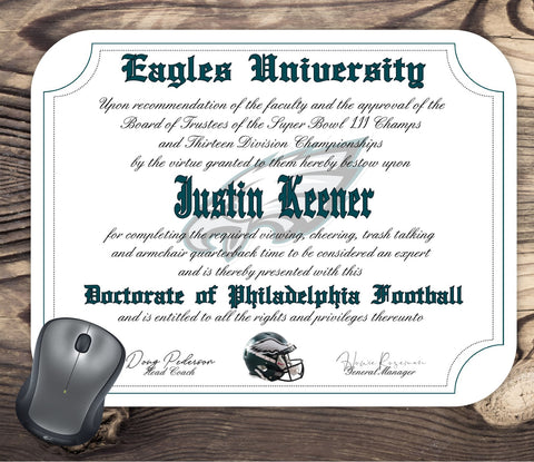 Philadelphia Eagles Ultimate Football Fan Personalized Diploma Mouse Pad