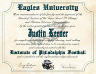 "Philadelphia Eagles Ultimate Football Fan Personalized Diploma - Perfect Gift - 8.5"" x 11"" Parchment Paper"