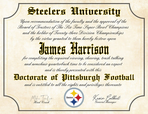 "Pittsburgh Steelers Ultimate Football Fan Personalized Diploma - 8.5"" x 11"" Parchment Paper"